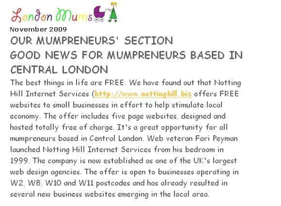Our mumpreneurs' section good news for mumpreneurs based in central London