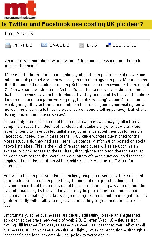 Is Twitter and Facebook use costing UK plc dear