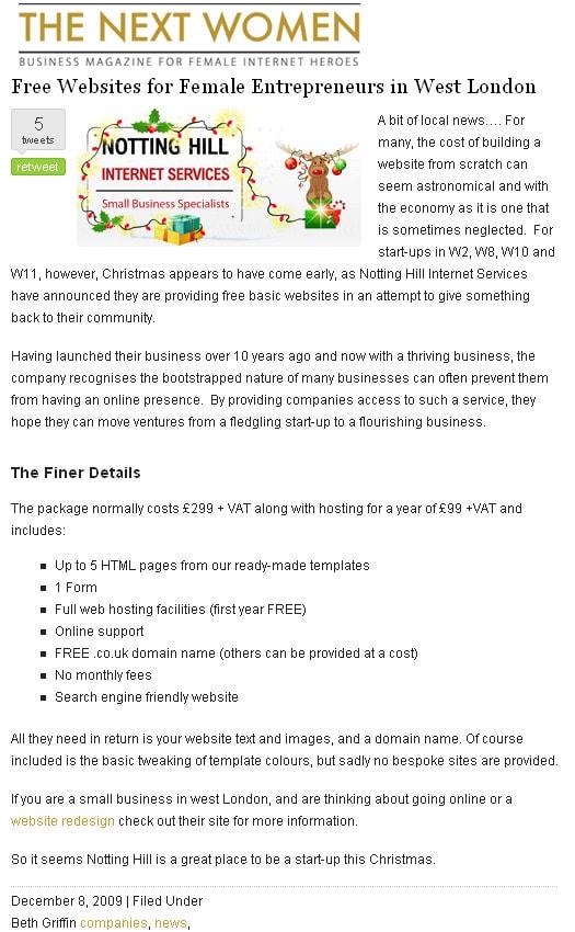 Free Websites for Female Entrepreneurs in West London