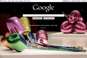 Google homepage with Jeff Koons artwork as background image